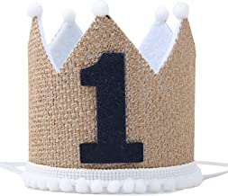 1st Birthday Crown Hat for Baby - First Birthday Party Decor for Baby Show,Baby Hat for Handmade,Birthday Crown Cap for Baby Girls/Boys (Linen)
