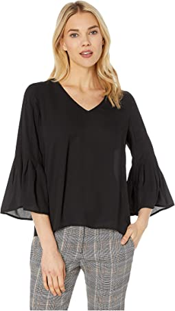 V- Neck Flared Sleeve Swing Blouse