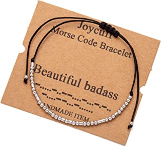 Joycuff Inspirational Morse Code Bracelets for Women Funny Mantra Christmas Birthday Gifts for Best Friend Sister Daughter...