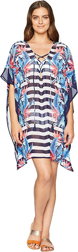 Palms Paradise Lace-Up Tunic Cover-Up