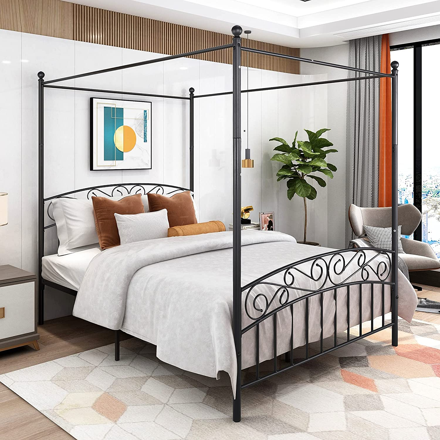 Canopy Bed Sale SALE% OFF Frame Queen Size Headboard Footboar with Metal Deluxe Sto