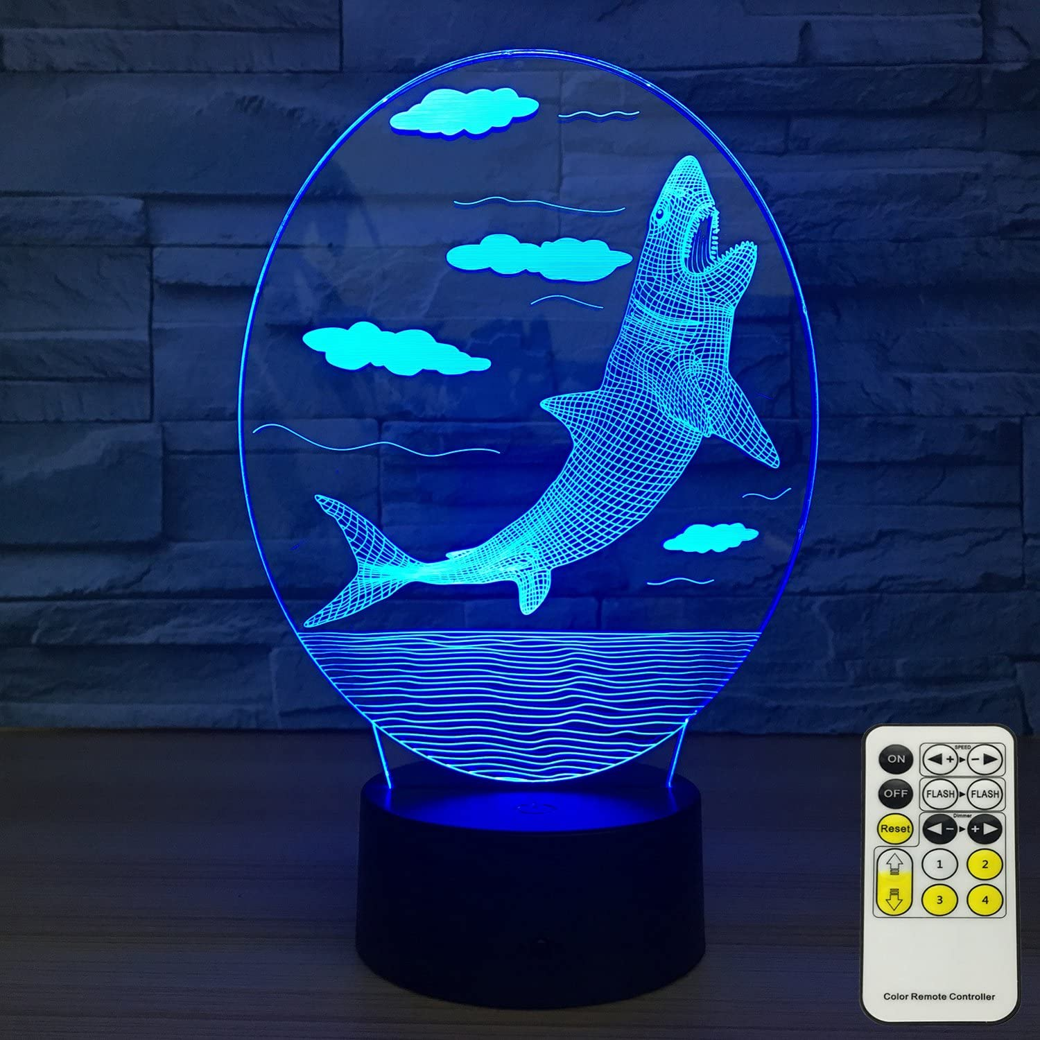 INSONJOHY Kids Night Lights Bedside Lamp 7 colors Change with Remote Control 3D Night Light Kids Optical Illusion Lamps Kids Lamp As a Gift Ideas Boys Girls (Shark)