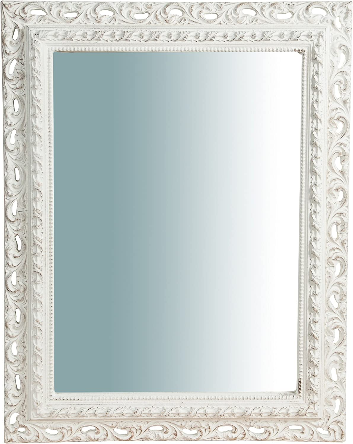 W70xDP5xH90 cm Sized Made in  Wood Made White Finish Wall Mirror greenical Horizontal Setting