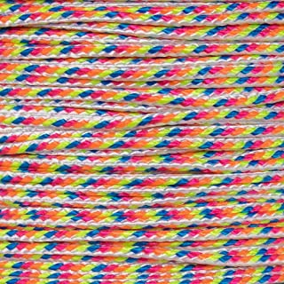 PARACORD PLANET Micro Cord 1.18mm Diameter 125 Feet Spool of Braided Cord - Available in a Variety of Colors Made in The USA (Light Stripes)