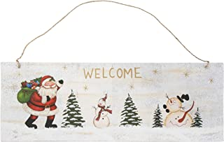 Juvale Christmas Welcome Sign - Rustic Metal Door Wall Hanging Decoration, Santa Claus, Tree and Snowman Design, Indoor Outdoor Horizontal Sign for Home, Classroom, Office, 16 x 5.8 Inches