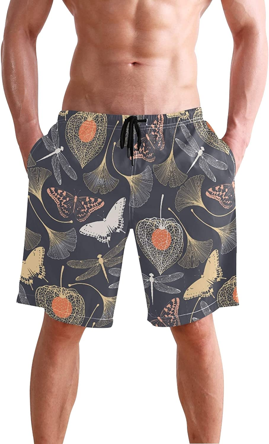 Butterfly Insect Mens Swim Trunks Men's Sportwear Quick Dry Board Shorts with Mesh Linin S 20402732