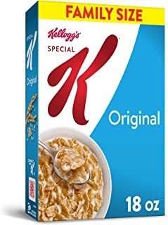 Kellogg's Special K, Breakfast Cereal, Original, Made with Folic Acid, B Vitamins, and Iron, Value Size, 18oz Box(Pack of 6)