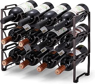 Simple Trending 3-Tier Stackable Wine Rack, Standing Bottles Holder Organizer, Wine Storage Shelf, Towel Rack for Kitchen Pantry Cabinet, Hold 12 Bottles, Bronze