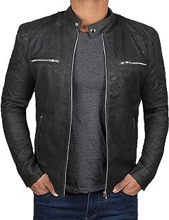 Black Leather Jacket for Men - Real Lambskin Leather Motorcycle Jacket Men