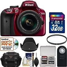 Nikon D3400 Digital SLR Camera & 18-55mm VR DX AF-P Zoom Lens (Red) with 32GB Card + Case + UV Filter + Remote + Hood + Kit