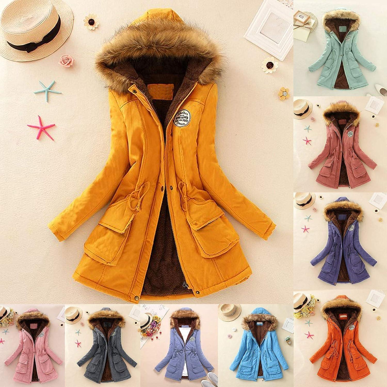 Asalinao Winter Womens Warm Coat Kapuzenjacke Schlanke Winter Outwear Mäntel Pink