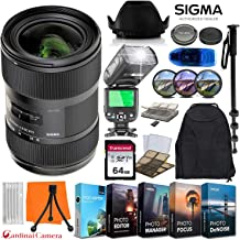 Sigma 18-35mm f/1.8 DC HSM Art Lens for Canon EF w/ 64GB Memory Card + Photo/Video Editing Software + Video TTL Flash & Exclusive Travel Accessory Bundle