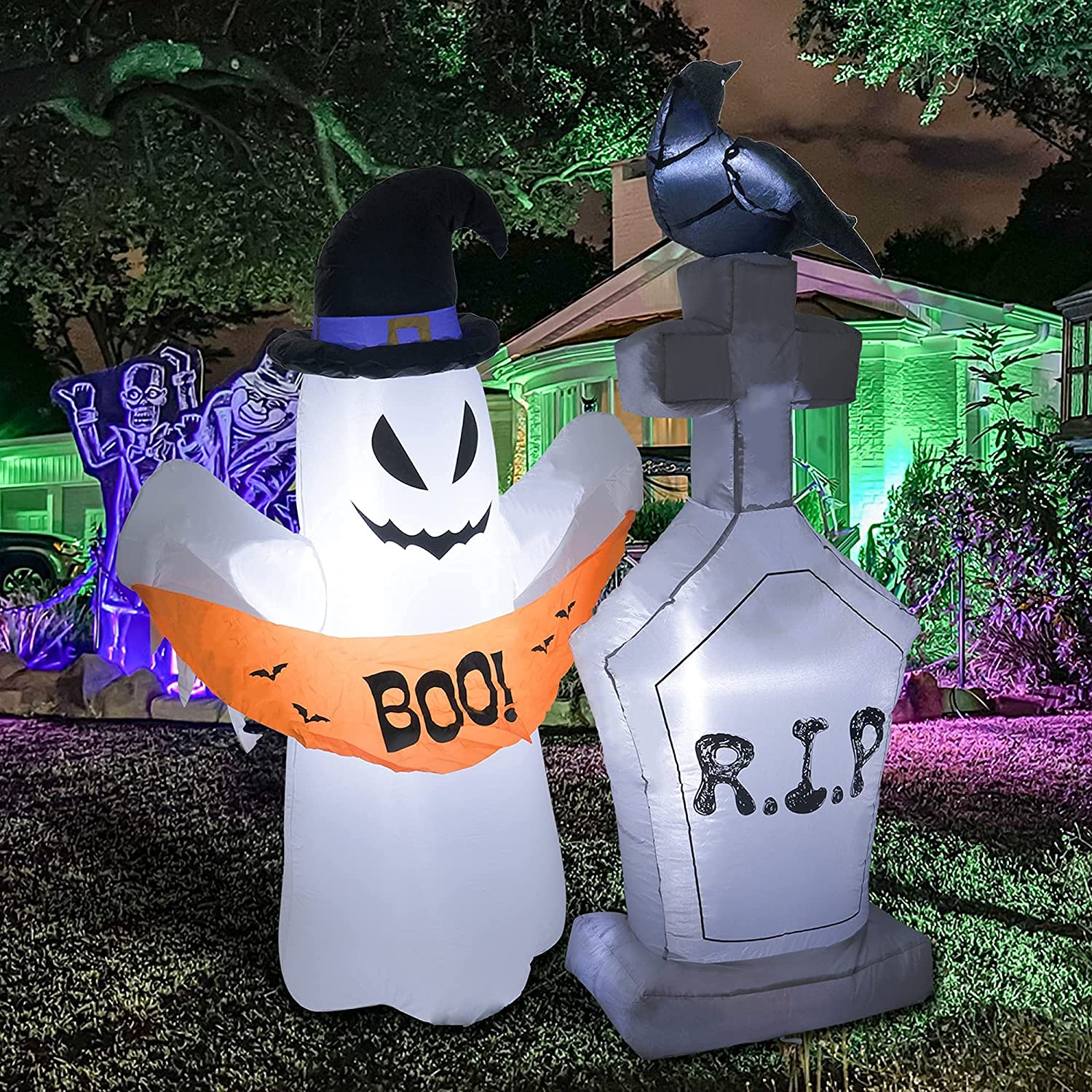 Hourleey 4 FT Halloween Ghost Tombstone Inside and O Free shipping New mart Inflatables