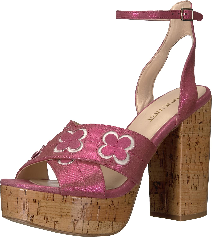 Nine West Womens Koolkat Metallic Platform Sandal