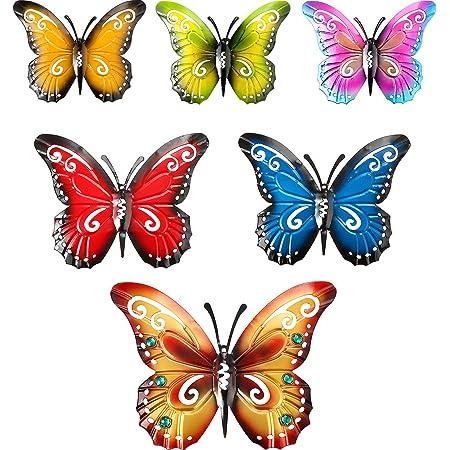 Blulu 6 Pièces Papillon en Métal Art Mural Papillons en Métal Décoration Murale Sculpture 3 Tailles Papillon Suspendu Mural Inspirant pour la Décoration Intérieure et Extérieure, 6 Couleurs