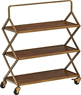 Rivet 3-Tiered Mid-Century Modern Metallic Gold Wood Intersecting Rolling Kitchen Bar Cart with Wheels, 27.9