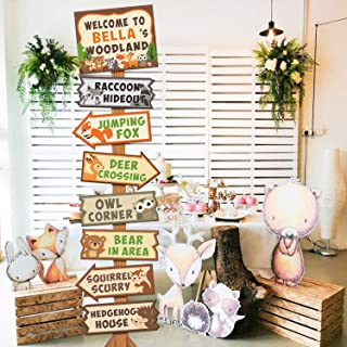 8pcs Woodland Animal Party Directional Signs Woodland Welcome Yard Door Sinage Forest Animal Camping Wild One Cutouts Baby...