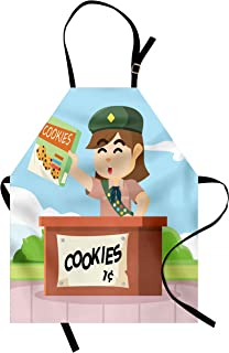 Lunarable Cartoon Apron, Cartoon Style Bake Sale Illustration with a Scout with Selling Cookies, Unisex Kitchen Bib with Adjustable Neck for Cooking Gardening, Adult Size, Blue Rust