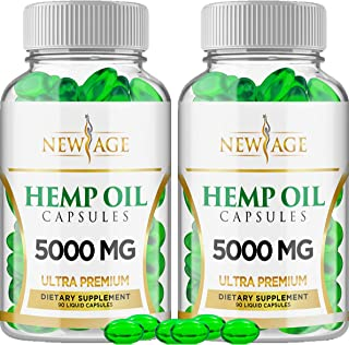Hemp Oil Capsules Pills - 2 Pack - 5000 MG of Pure Hemp Extract Per Bottle - Pain, Stress & Anxiety Relief - Natural Sleep...