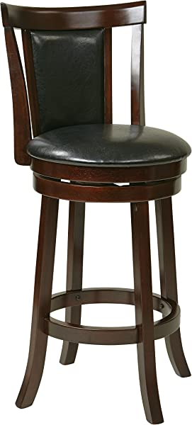 Office Star Metro Faux Leather Seat And Back Round Swivel Barstool With Footrest And Espresso Finish Wood Frame 30 Inch Black