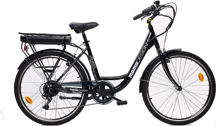 Bicicletta elettrica a pedalata assistita unisex adulto, nero, unica momo design venezia B08FCHYLP3