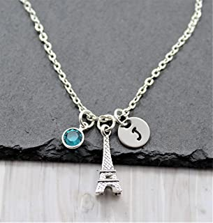 Eiffel Tower Necklace - Personalized Birthstone & Initial - Eiffel Tower Jewelry