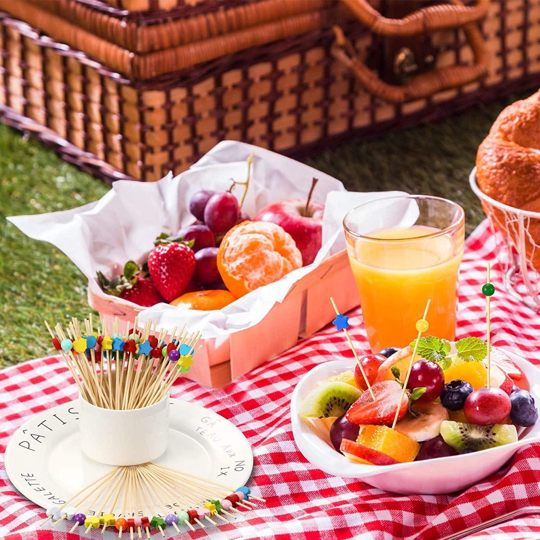 Feu dartifice Cocktail,100 pi/èces Bambou Naturel Cocktail Cure-Dents B/âtons en Bois pour G/âteaux Barres de D/écoration Boissons Articles de F/ête 12cm AX