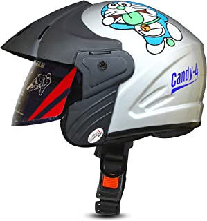ACTIVE CANDY-4 Open Face Face Helmet for Kids from 3 to 6 Years (GREY,Size-Extra Small)(CARTOON CHARACTERs MAY VERY) (GREY)