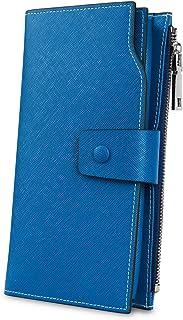 [ヤラックス]YALUXE レディース 床革 RFID ブロッキング 大容量 贅沢 クラッチ ウォレット カード ホルダー オーガナイザー 財布 淡いブルー