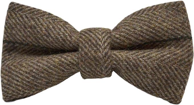 History of 1920s Men's Ties, Neckties, Bowties Luxury Peanut Brown Herringbone Check Bow Tie Tweed  AT vintagedancer.com