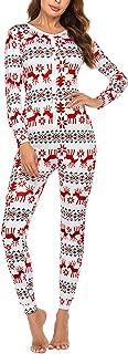 Women's Christmas Union Suits Thermal Underwear Onesie Union Suit M