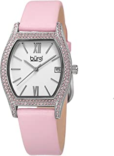 Burgi Swarovski Crystal Filled Women's Watch - Barrel Tonneau Case with Date Window On Genuine Leather Strap - BUR166