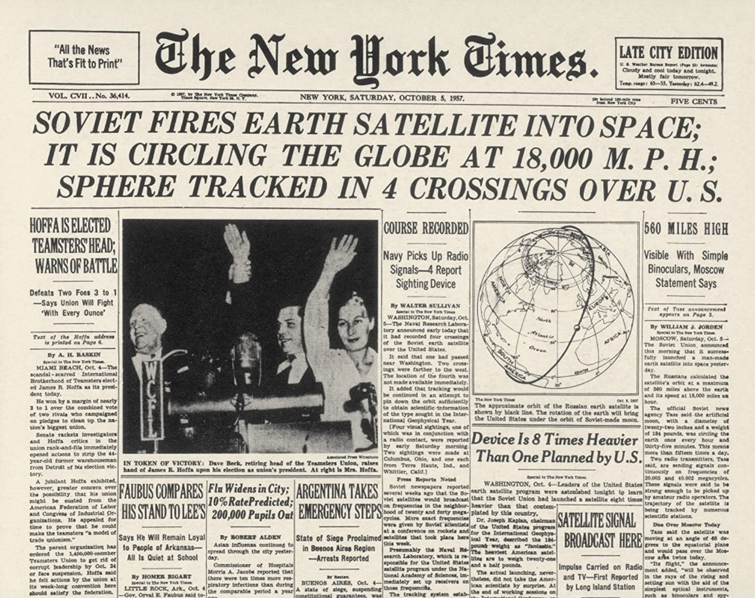 Sputnik I 1957 NThe New York Times Front Page Headline Announcing The Launch Of Sputnik I The Soviet UnionS First Earth Satellite Newspaper Page 5 October 1957 Poster Print by (24 x 36)