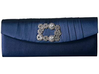 Jessica McClintock Joan East/West Clutch with Broach (Navy) Handbags