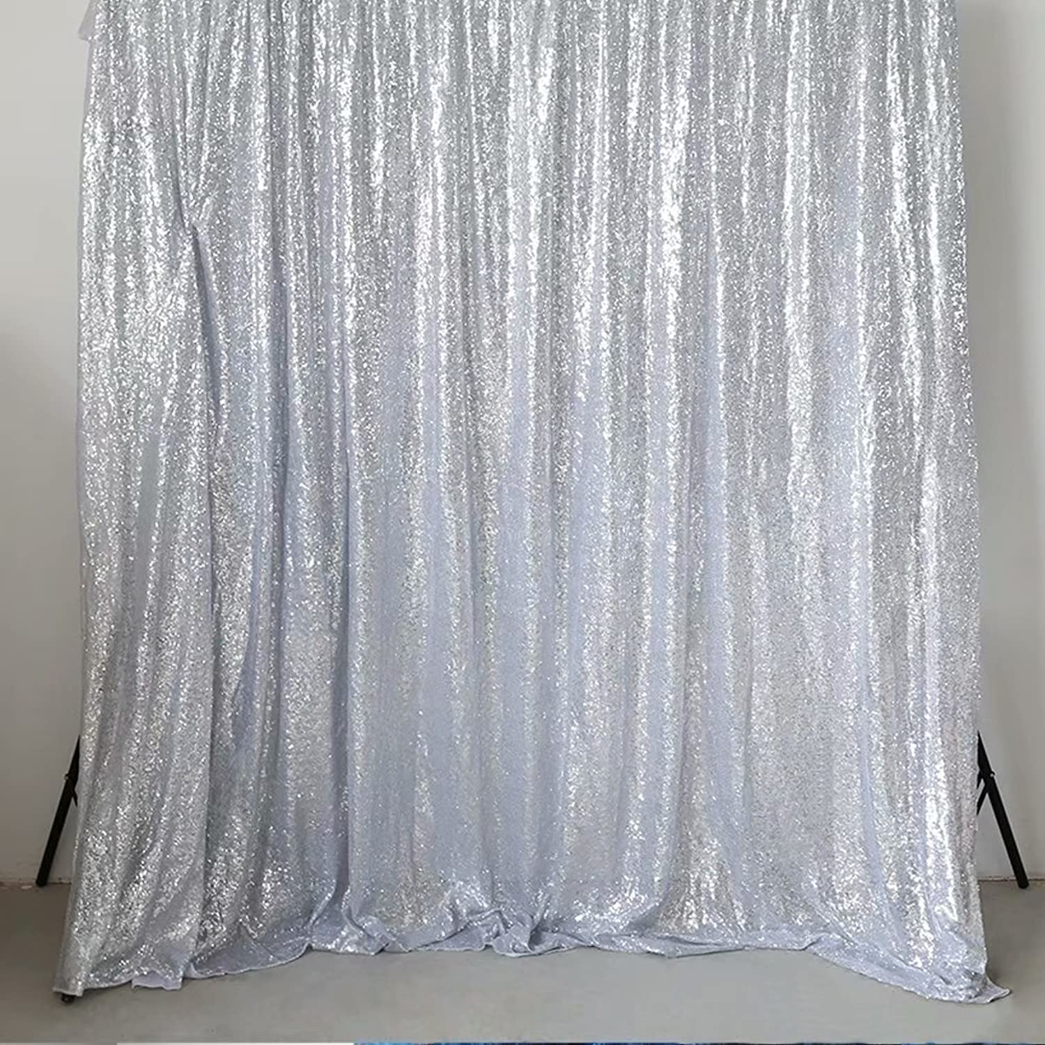 GFCC Silver 8x10ft Sequin Backdrop Wedding Party Christmas Decoration Home Favors Photo Booth Backdround