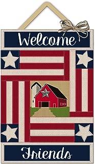Evergreen Country Patriotic Outdoor Safe Burlap Door Hanger