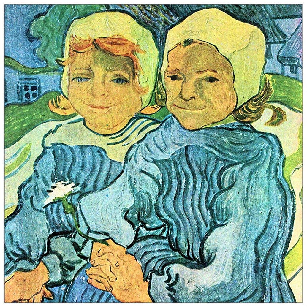 ArtPlaza TW91311 Van Gogh Vincent - Two Children II Decorative Panel 23.5x23.5 Inch Multicolored