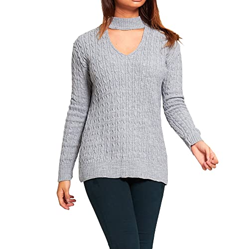 806c2c8a9cd0f9 Simply Chic Outlet SCO New Womens Plus Size Choker V Neck Oversized Knitted  Jumper