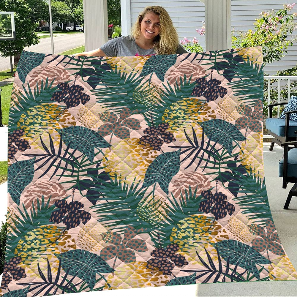 Palm 5 ☆ popular and Leaf Tropical Ultra Soft Weight Light Blanket Quilts fo Max 87% OFF