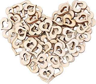 I-MART Rustic Wooden Hollow Love Heart Wedding Table Scatter Decoration Crafts, Table Confetti for Wedding Party (XL - 50 Pcs)