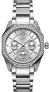 JBW Luxury Women's Marquis 5 Diamonds Faceted Bezel Metal Watch