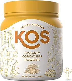 KOS Organic Cordyceps Powder - Endurance & Immunity Enhancing Cordyceps Mushroom Powder - USDA Organic, Energy Supporting Plant Based Ingredient, 350g, 70 Servings