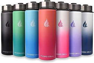 (Black/White 24oz) - HYDRO CELL Stainless Steel Water Bottle w/Straw & Wide Mouth Lids (1180ml 950ml 710ml 530ml) - Keeps ...