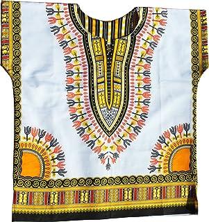 RaanPahMuang Kids Unisex African Dashiki Shirt 100% Soft Cotton Short Sleeve Wht