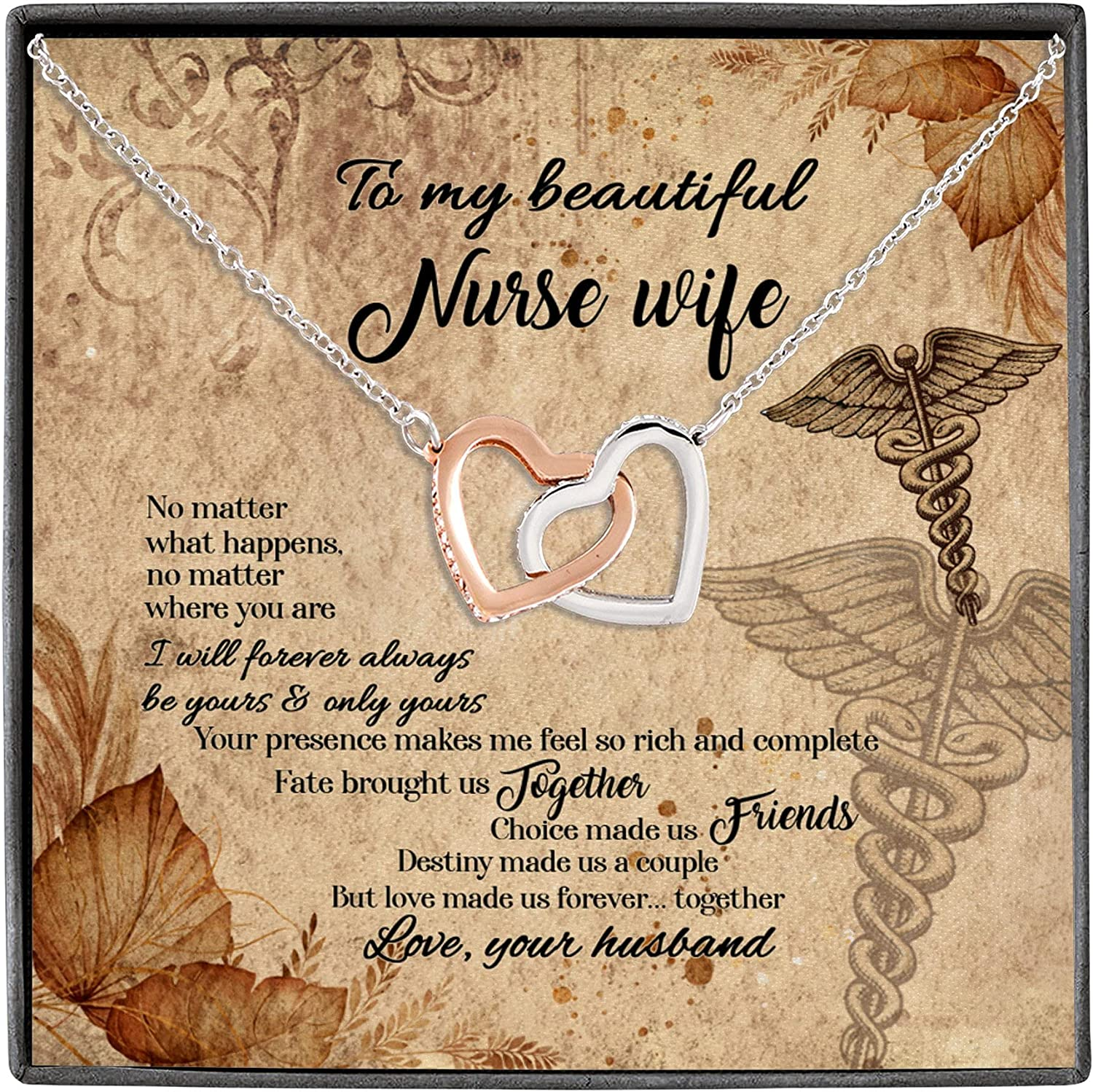 To My Beautiful Nurse Wife No Matter What Happens I Will Forever Always Be Yours Interlocking Hearts Pendant Necklace