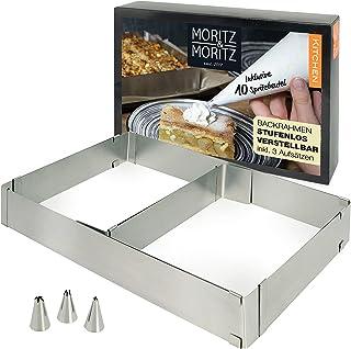 Moritz & Moritz - Cadre Patisserie Rectangulaire - À Réglage Continu - 51x33x5cm (max) - Pour la Cuisson et la Décoration