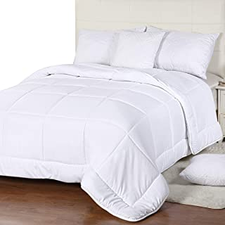 Utopia Bedding All Season Comforter - 250 GSM Plush Microfiber Fill - Quilted Duvet Insert with Corner Tabs - Box Border Comforter - Twin/Twin XL - White