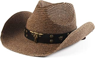 Melesh Adult Sun Straw Western Cowboy Hat Colored