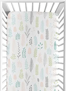 Handmade cotton crib sheet  Flowers//Leaves,Gray//Coral Or Turquoise//green