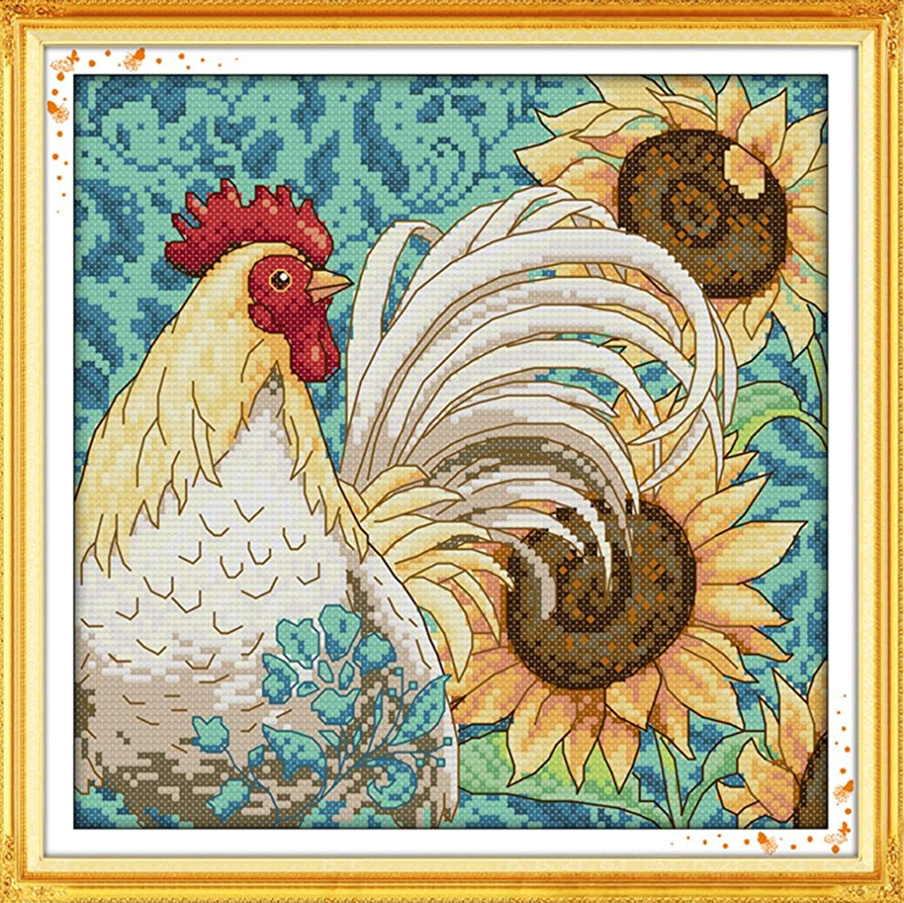CaptainCrafts Hots Cross Stitch Kits Patterns Embroidery Kit - Sunflower And Cock (STAMPED)